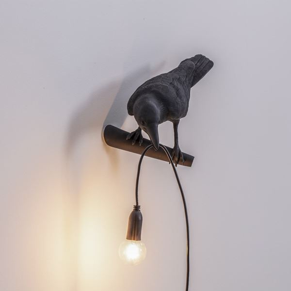 "BIRD LAMP ""LOOKING "" NEGRO (3)"