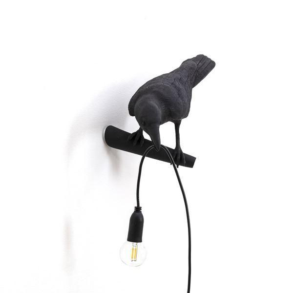 "BIRD LAMP ""LOOKING "" NEGRO (4)"
