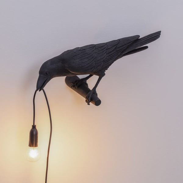 "BIRD LAMP ""LOOKING "" NEGRO (5)"