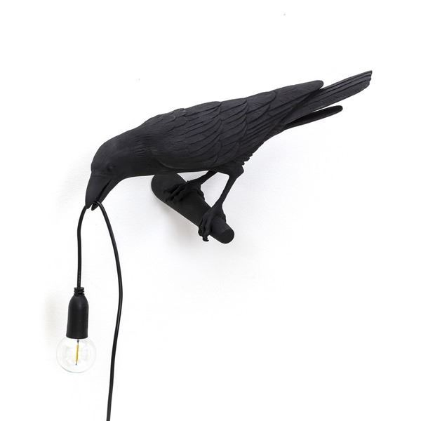 "BIRD LAMP ""LOOKING "" NEGRO"