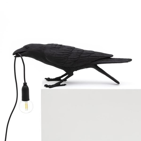 "BIRD LAMP ""PLAYING"" NEGRO"