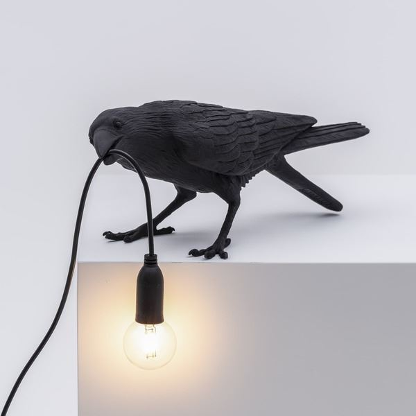 "BIRD LAMP ""PLAYING"" NEGRO (3)"