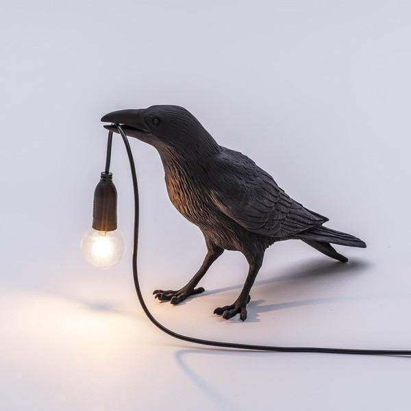 "BIRD LAMP ""WAITING"" NEGRO (2)"