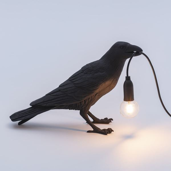 "BIRD LAMP ""WAITING"" NEGRO (3)"